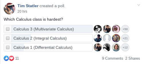 "Poll of 140 people asked: ""Which Calculus Class is the hardest?"" (Hardest Calculus Class)"