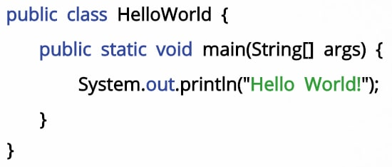 Hello world syntax for Java
